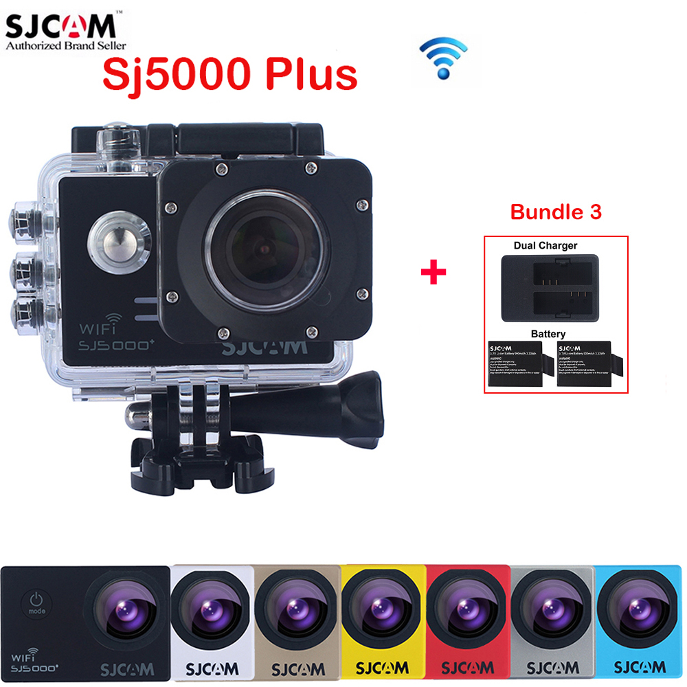 100% Original SJCAM SJ5000 Plus WiFi Slow Motion 30M Waterproof Sports Action Camera Sj DV Cam +Extra 2 Battery+Dual Charger original sjcam m20 wifi 4k 24fps 30m waterproof sports action camera sj cam dvr 2 extra battery dual charger remote monopod