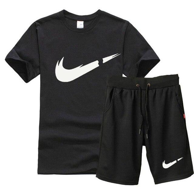 2019 New  t shirt Men Sets Fashion Summer cotton short sleeve Sporting Suit T-shirt +shorts Mens 2 Pieces Sets casual clothing Футболка