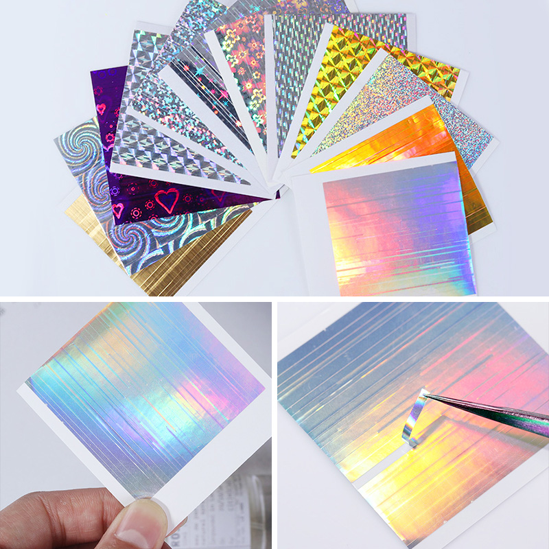 цена на 12 Sheets Holo 3D Nail Sticker Set Line Stripe Adhesive Ultra Thin Foil Candy Decal for Nail Art Decoration