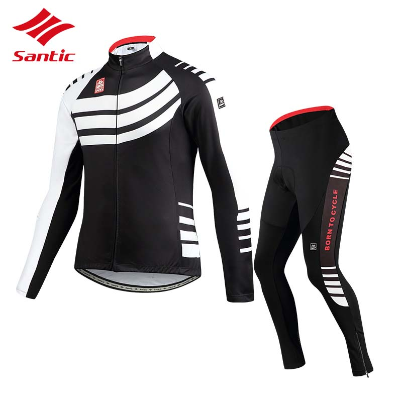 Santic Cycling Jersey Sets Men 2018 Autumn Winter MTB Road Bike Cycling Clothing Fleece Keep Warm Bicycle Jacket Ropa Ciclismo 2017 santic mens breathable cycling jerseys winter fleece thermal mtb road bike jacket windproof warm quick dry bicycle clothing