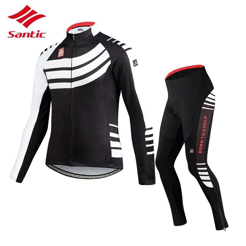 цена Santic Cycling Jersey Sets Men 2018 Autumn Winter Road Bike Cycling Clothing Fleece Keep Warm Bicycle Jacket Ropa Ciclismo онлайн в 2017 году