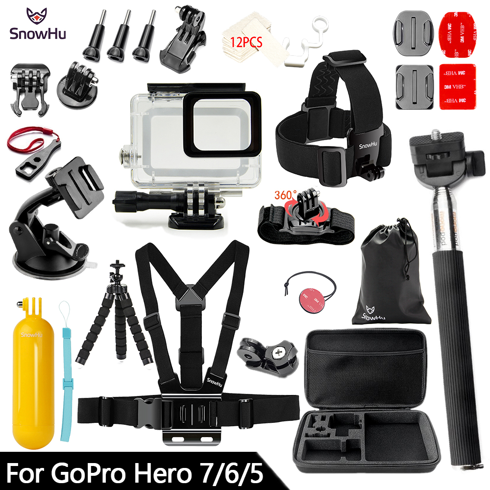 SnowHu For Gopro Accessories Set For Gopro Hero 7 6 5 Waterproof Case Protection Frame Monopod For Go Pro 7 6 Gopro 5 GS73