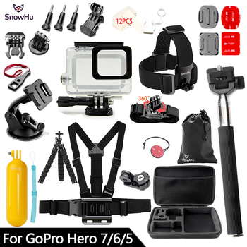 SnowHu for Gopro Accessories Set For Gopro hero 7 6 5 Waterproof case Protection Frame monopod for Go pro hero 7 6 5 GS73 high quality waterproof housing case for gopro hero 5 6 action camera hero 5 6 black edition