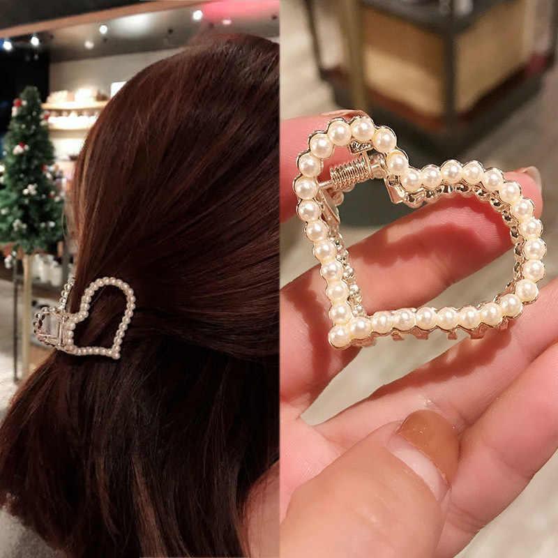 נשים שיער טופר גיאומטרי חיקוי פרל סיכת ראש סרטן רטרו לב צורת גביש שיער קליפים אביזרי שיער לנשים