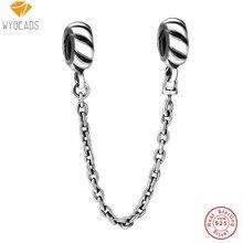 Wybeads 925 cuentas de plata esterlina encantos ajuste bolas brazalete de la pulsera de cadena de la serpiente de la cadena europea de seguridad original de la fabricación de joyas