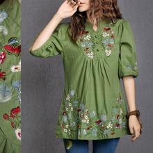 2020 Vintage años 70 campesino mexicano elegante de etnia floral bordado Boho Hippie blusa Retro vestido de verano envío gratis