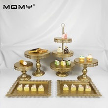 6pcs Thick Disk Dessert Metal Crystal Wedding Round Birthday Gold Plated Cake Stand