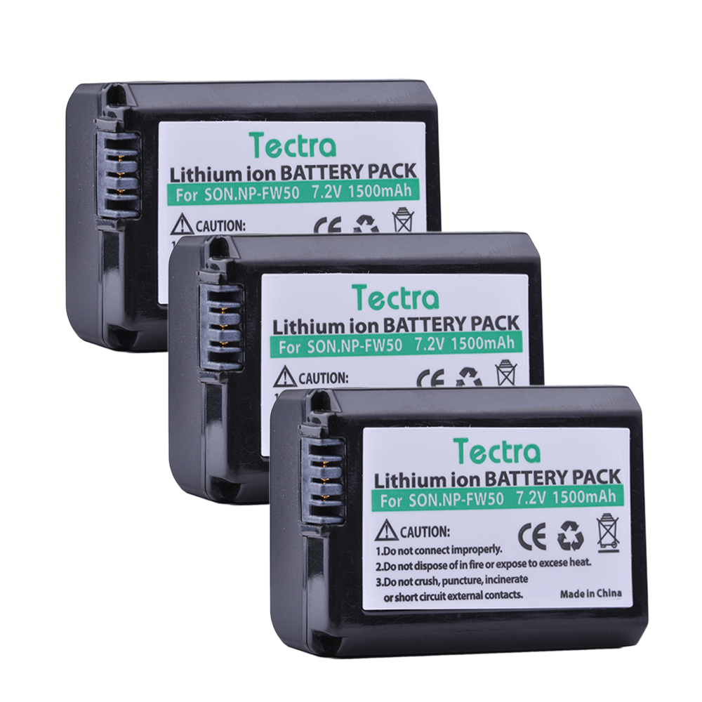 Tectra NP FW50 NPFW50 3PCS 7 2V 1500mAh Li ion Camera Battery for Sony NEX 3N