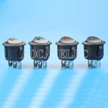 KCD1-101EN-5 ON-OFF round rocker switch with 220V eyes dot illuminated lamp free shipping 20pcs lot 20mm opening round three legged illuminated red rocker switch kcd1 105 3 feet 2 files light