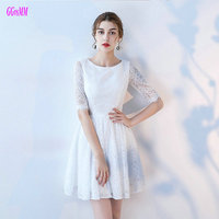 Gorgeous White Lace Cocktail Dresses 2018 New Sexy Black Prom Dress Short Scoop Zipper Knee Length Red Club Cocktail Party Gowns