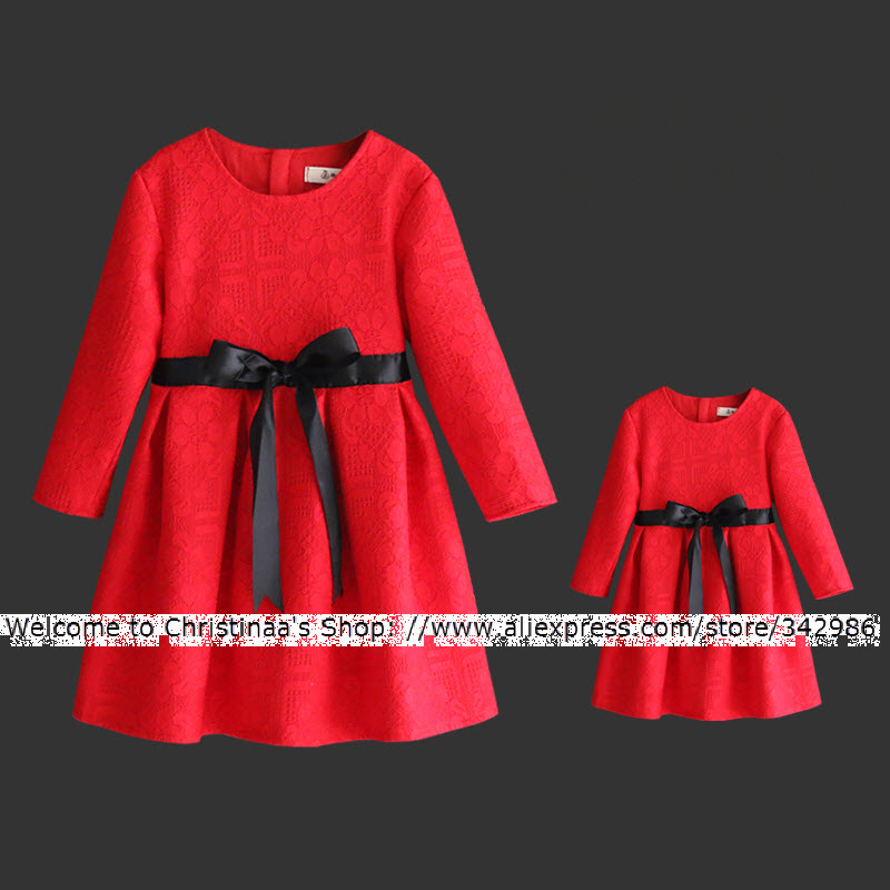 European style mother daughter dress Elegant noble Red lace pleated dresses Black Ribbon Bow family clothes baby girls infant