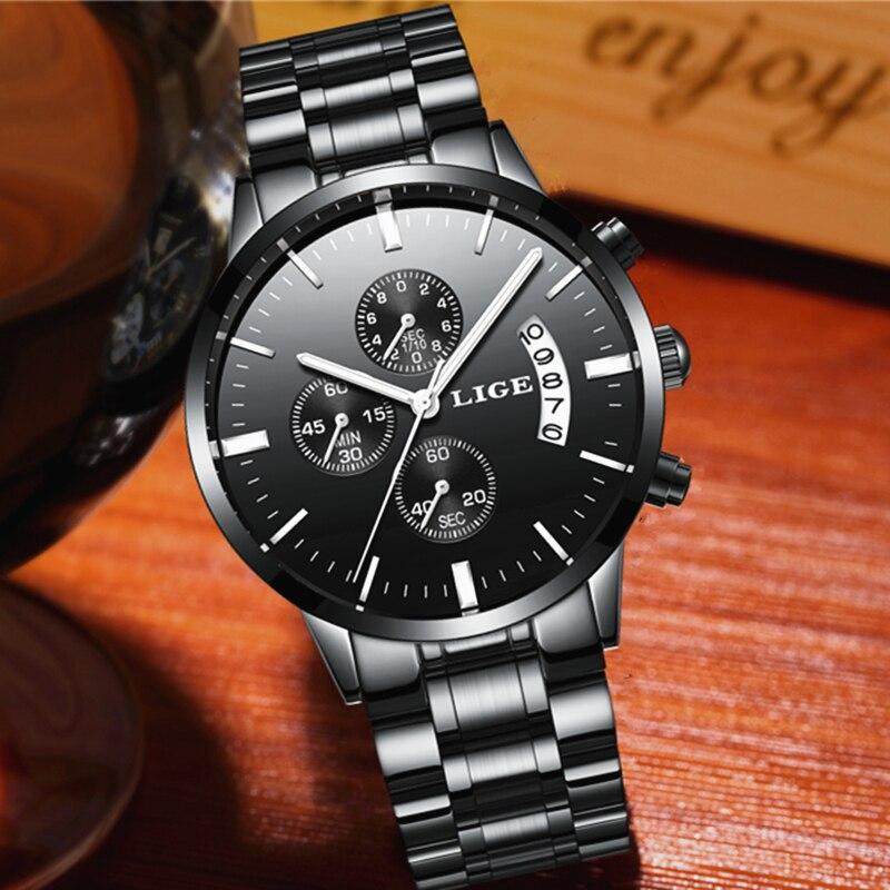 2017 neue Uhren Weise Luxusmarke LIGE Chronograph Weise Sportuhren Wasserdichte Voller Stahl Quarz Herrenuhr Relogio Masculino