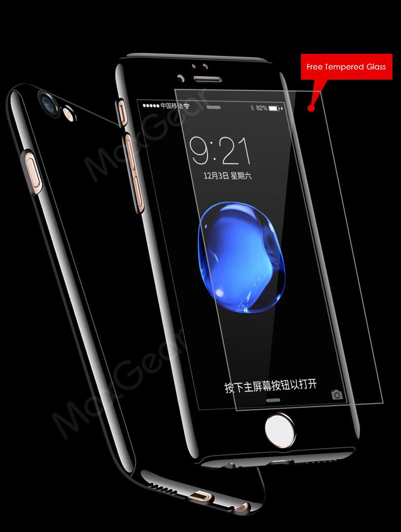 Luksusowe Piano Black 360 Stopni Ciężka PECET Skrzynki Dla Apple iPhone 5 5S SE 6 6 S 7 Plus Szczupła Całe Ciało Pokrywa Capa + Szklany Ekran Protector 5