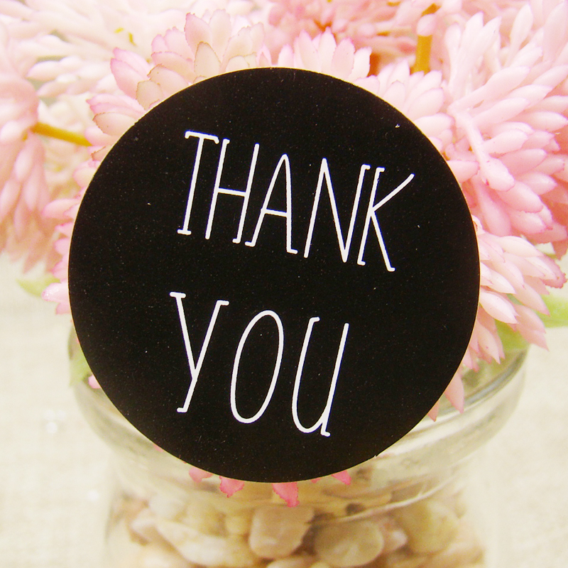 Free Shipping 100PCS/Lot Thank You Sticker Labels Black Paper Sticker Labels Diameter 3CM For DIY Hand Made Gift /Cake