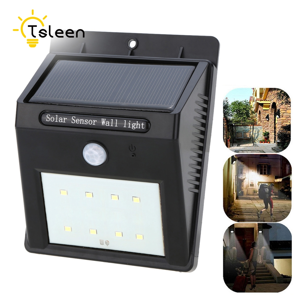 TSLEEN Free Shipping! Waterproof LED Solar Powered Motion Sensor 8 Led Lamp Garden Fence Wall Patio Yard Light 2835 SMD ...