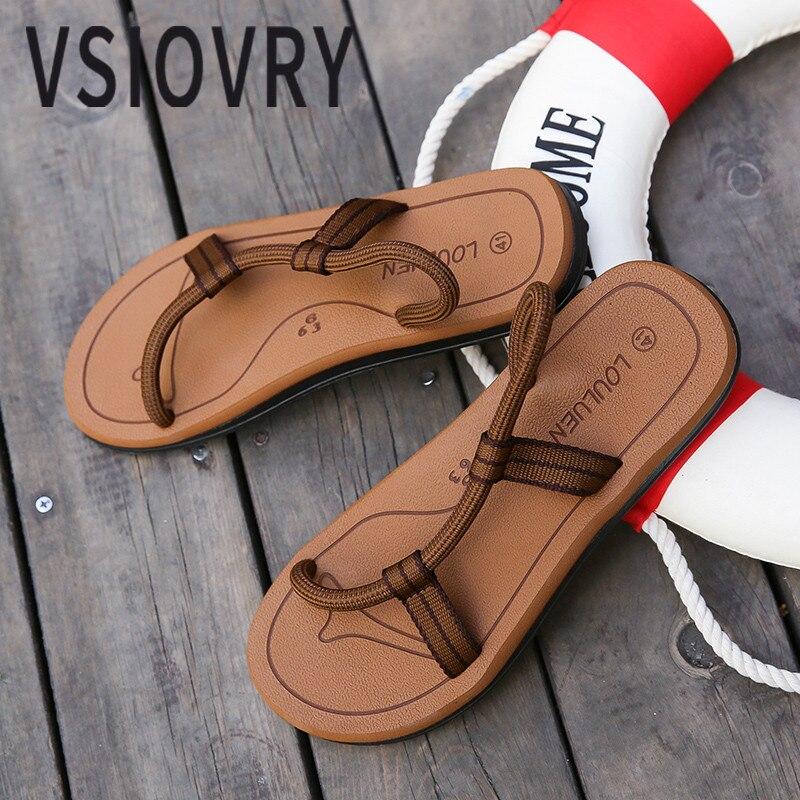 VSIOVRY סנדלי גברים חדשים קיץ 2018 חבל אלסטי מזדמן יוניסקס אופנה סנדלי החוף בסגנון רומא נעלי Sandalias חיצוני לגברים