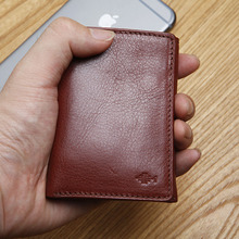 LANSPACE mens leather small wallet italy three fold mini wallet