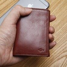 Lanspace carteira pequena de couro masculino itália três vezes mini carteira