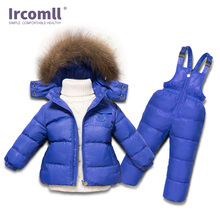 Ircomll Russia Winter Boys Girls Clothing Set Infant White Duck Down Coat+Overalls 2PC Children Snow Wear Windproof Ski Suit