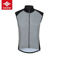 2019 New Santic Pro Reflective Men Cycling Sleeveless Jerse Breathable Quick Dry MTB Mountain Bike Vest Ultralight Bicycle Vest