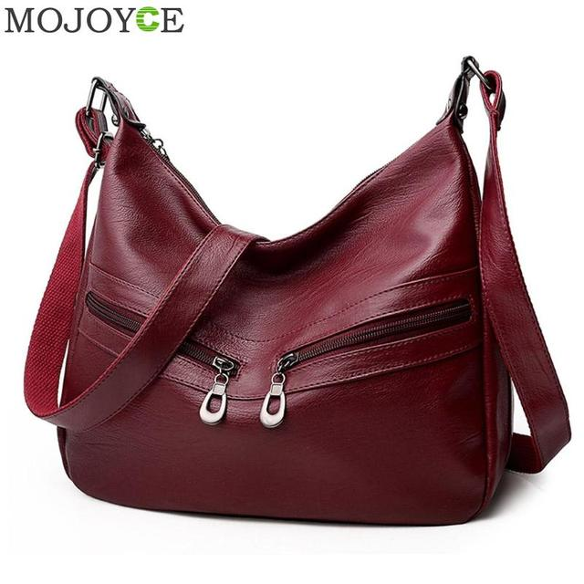 b557e00fd02f Women Hobos Handbag Brand Fashion Zipper PU Leather Shoulder Bag Elegant  Office Ladies Messenger Bag Female Totes Shopping Bags