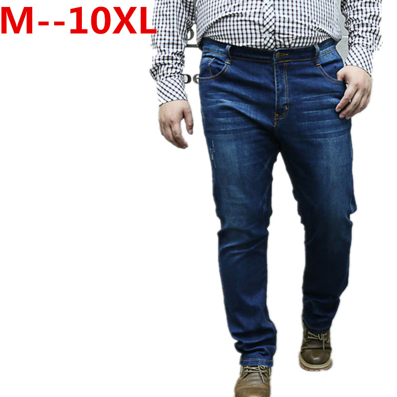 Plus size 10XL 8XL 6XL 5XL 4XL 2017 Spring Summer Autumn Men Business Jeans Male Denim Casual Pants Adult Lightweight Trousers new spring and summer mens brand mid waist jeans pants plus size male denim trousers men casual jeans s39