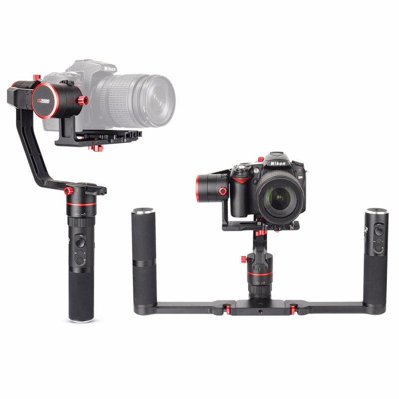 DHL free shipping FeiyuTech a2000 3-Axis handheld Gimbal stabilizer for DSLR camera with dual handle 2kg payload yuneec q500 typhoon quadcopter handheld cgo steadygrip gimbal black