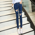 The new spring and summer 2016 Korean knees ripped jeans female trousers jeans pencil pants mogujie.com supply