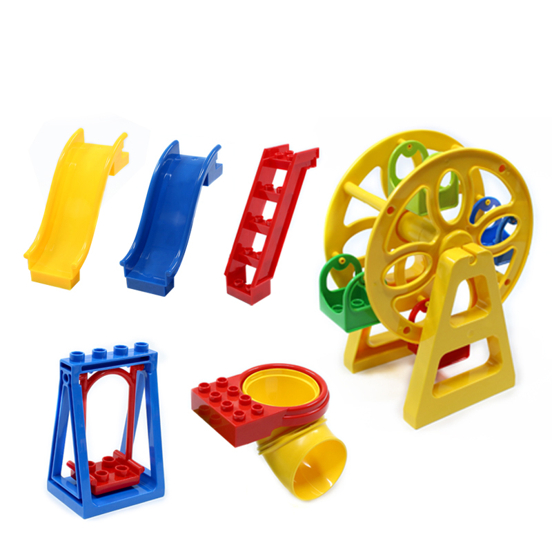 Amusement Park Series Large Particle Building Blocks Swing Ferris Wheel Slide Assemble Brick Toys Compatible with Legoe Duplo kid s home toys large particles happy farm animals paradise model building blocks large size diy brick toy compatible with duplo