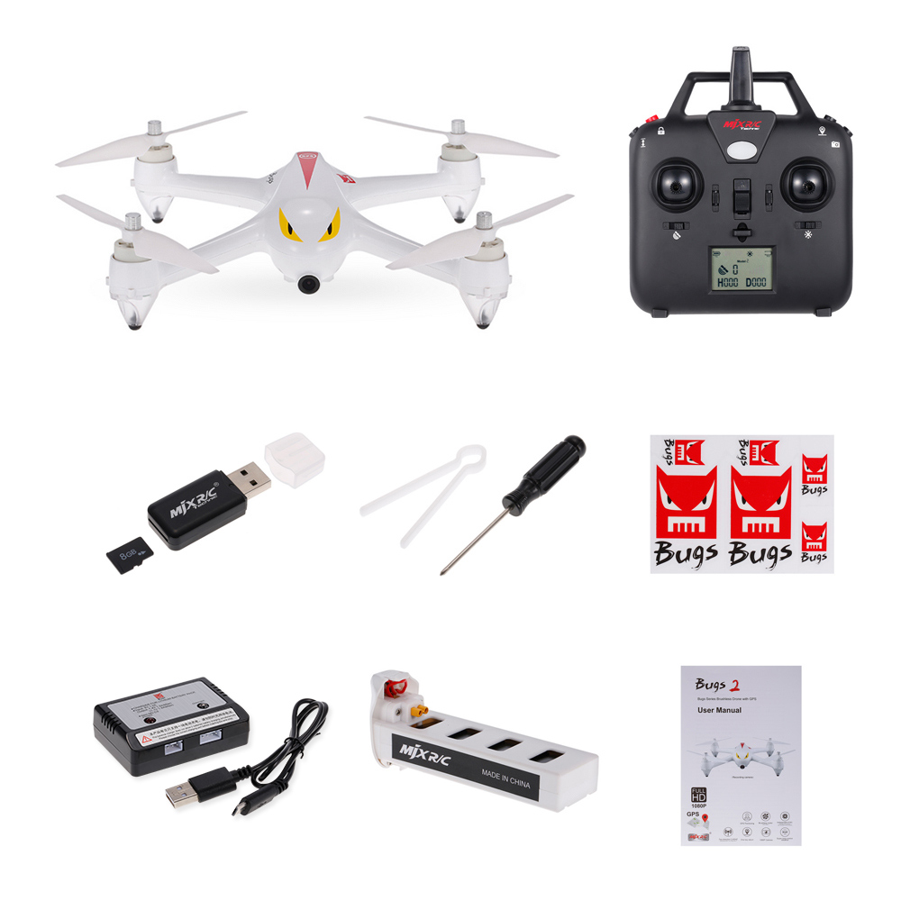 MJX Bugs 2C GPS RC Drone with Camera 1080P HD 2.4G 4CH 6-Axis Gyro Brushless Quadcopter Selfie Drone Quad Height Hold (2)