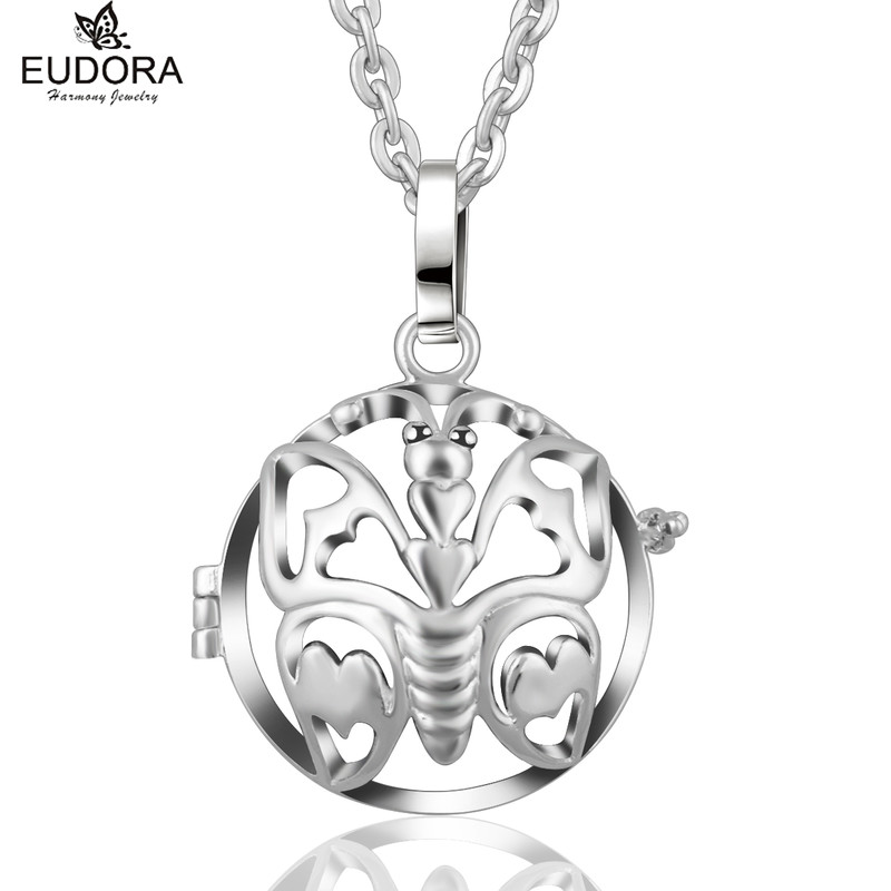 20mm Eudora Harmony Bola Hollow Out Butterfly Pendant Copper Metal Cage Locket Chain Necklace Pregnant Women Jewelry