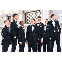 Custom made black groom men suit dresses satin LAPEL notch mens suits best man wedding Dance Dress tuxedo 2017 (coat+pants+tie)