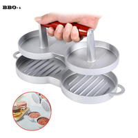Double Hamburger Press Nonstick Cast Aluminum Burger Maker Meat Patties Hamburger Mold Patty Press 2 Holes Cook Bar Kitchen Tool