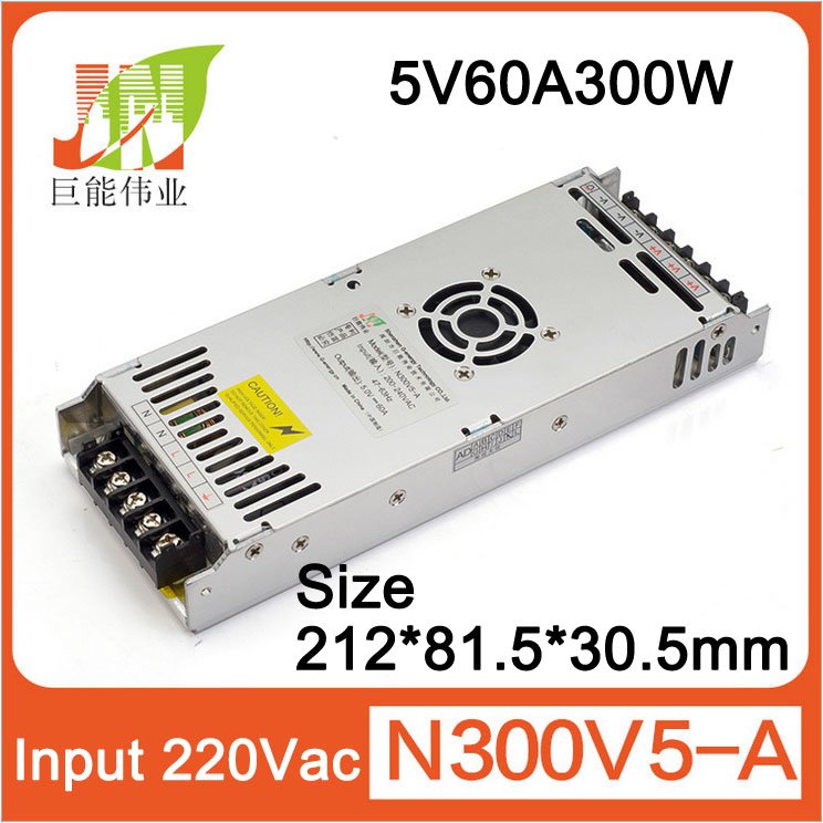 5V60A300W Ultra-thin LED Display Power Supply, Size:212x83x30, Indoor And Outdoor Full-color P10 P16  LED Display Power Supply