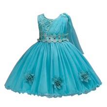 2019 New Lace Girl Baptism Dress Kids Flowers Sleeveless Tutu Bow  Dresses Girls Clothes Party Princess Birthday Costumes Vestid недорого