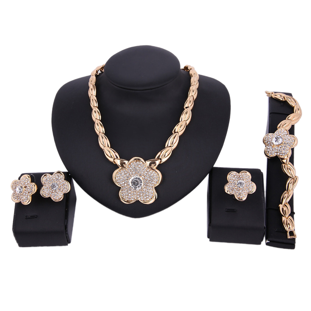 Flower Alloy Rhinestone Ear Studs Necklace Bracelet Ring Bride Women Jewelry Set