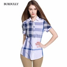 BURDULLY 2017 Summer Fashion Women Cotton Plaid Patchwork Blouse Designs Ladies Elegant Patchwork Blouse Shirt Plus Size Tops