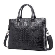 Neue 2016 geschäftsleute aktentasche vintage umhängetaschen Messenger krokodil-korn-echtes Leder handtaschen mode laptop-tasche