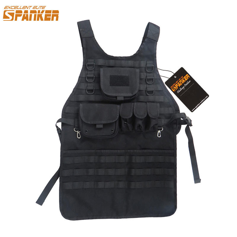 EXCELLENT ELITE SPANKER Outdoor Tactical Molle Apron Suit Vest BBQ & Craft Multiuse Apron Versatile Military Hunting Equipment spanker 1000d camouflage tactical molle tank mechanic chef cooking grilling apron army training hunting waterproof nylon vest