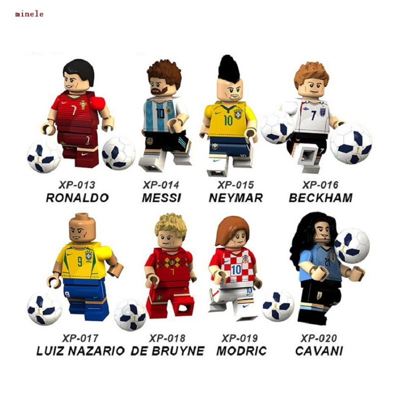 Messi Ronaldo Pogba Zlatan Ibrahimovic Beckham Neymar JR Ozil Chicharito Football Blocks Soccer Figure Compatible With Legoings