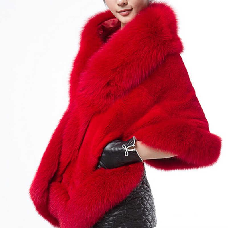 Luxe élégant femmes Faux vison cachemire hiver chaud manteau de fourrure châle Cape mode solide dames fausse fourrure Pashmina Poncho