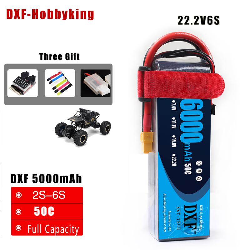 2017 DXF RC Lipo Battery 22.2V 6000mah 50C 2S AKKU Batteria For RC Model Trex 500 Helicopter Traxxas Car Boat Drone FPV mini drone rc helicopter quadrocopter headless model drons remote control toys for kids dron copter vs jjrc h36 rc drone hobbies