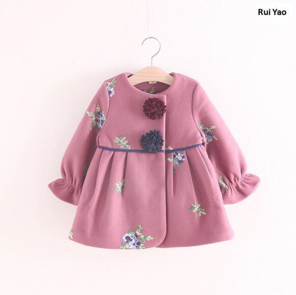 size X0926-14Z176 2017 Autumn Baby Girl Coat Fashion Embroidery Flower Girl Outerwear lolita Girls Clothes tms320f28335 tms320f28335ptpq lqfp 176