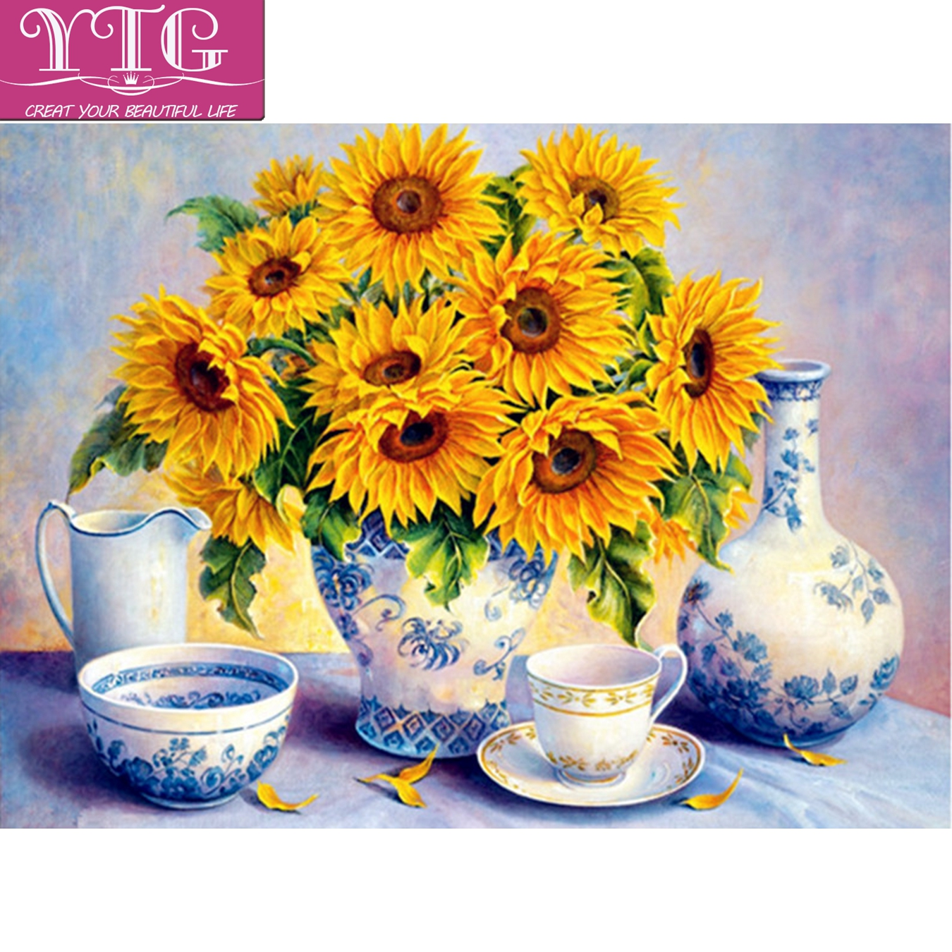 Full,Diamond Painting,Sunflower,Diamond Embroidery,Cross Stitch,5D,Wall,Sticker,Round,Rhinestone,Mosaic,Kits,DIY,Home Decor,Gift