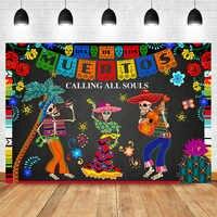 Día DE la muerte telón DE fondo mexicano azúcar calavera fotografía Fondo Dia DE Los Muertos vestido-up Fiesta Banner decoración