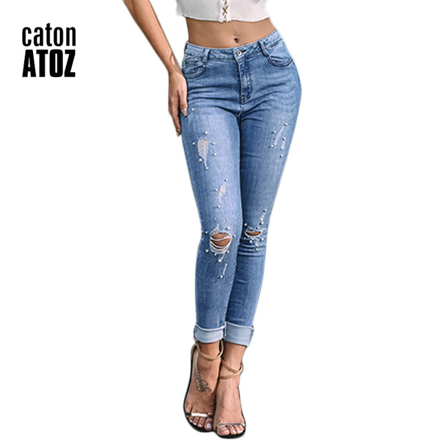 402fe3f0f39d9d catonATOZ 2184 New Ladies Slender slim Cotton Pearl Studded Jeans Denim  Pants Womens Skinny Stretch Ripped Jeans For Women