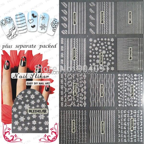 HOTSALE 50 hoja/lot Moda 3D de oro y plata encaje Nails Pegatinas para el arte del clavo 3d pegatinas de uñas de diseño + separado Embalado