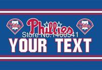 Philadelphia Phillies Custom Your Text Flag 3ft X 5ft Polyester MLB Team Banner Flying Size No