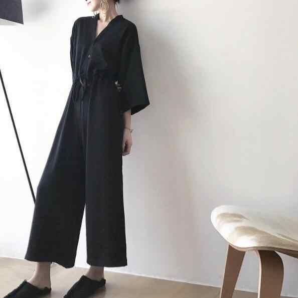 Женский комбинезон с рукавом девять четвертей, комбинезон с v-образным вырезом, свободные черные широкие брюки, длина по щиколотку, плиссированные женские комбинезоны DV679
