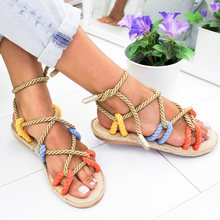 Women Sandals Rome Style Gladiator Sandals Female Lace Up Summer Shoes Woman Flat Sandals Beach Hemp Rope Chaussures Femme 2019(China)